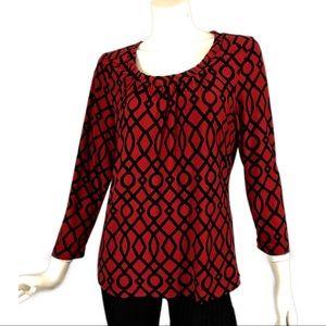 Rafaella Red Black Geometric 3/4 Sleeve Top M
